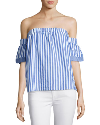 Off-the-Shoulder Striped Poplin Blouse, Multi