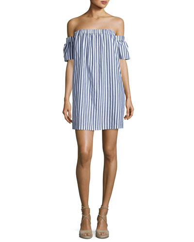 Off-the-Shoulder Striped Poplin Shirtdress, Multi