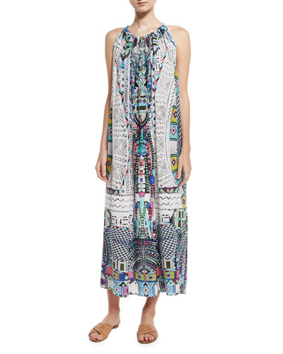 Printed Silk Crepe Halter Maxi Dress, Maasai Mosh