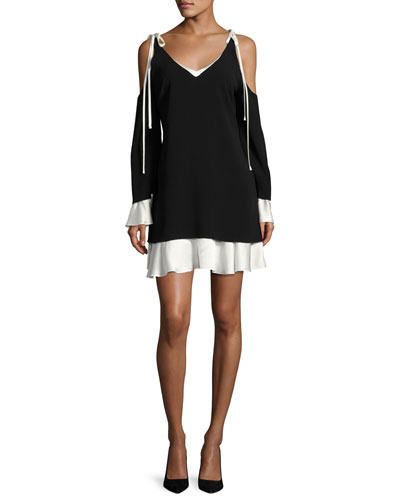 Aras Cold-Shoulder Dress with Contrast Ruffle Trim, Black/White