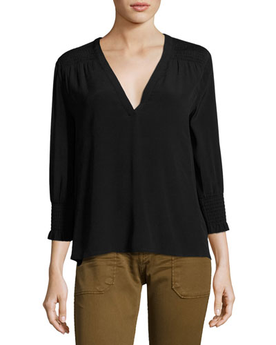 Leo Smocked V-Neck Top, Noir