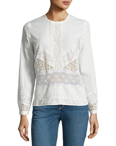 Enzo Mixed Eyelet-Lace Long-Sleeve Top, Ecru