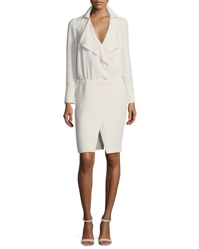 Filip Notched Shawl-Collar Shirtdress, Ecru