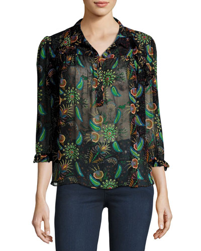 Yuppie Paisley-Print Top, Black