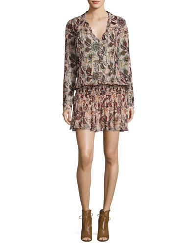 Yanis Paisley Smocked-Waist Long-Sleeve Dress, Nude