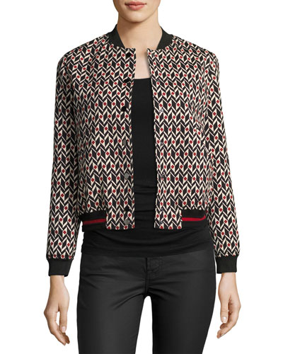Trish Bomber Jacket, Red/Black Pattern