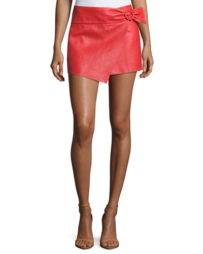 Braddy Leather Wrap-Front Miniskirt, Red