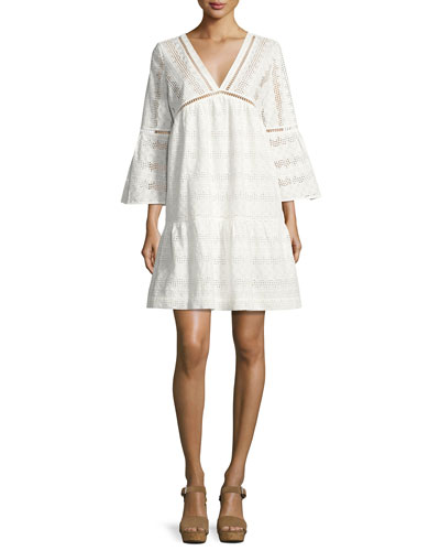 Gaia Cotton Lace V-Neck Mini Dress, Ecru