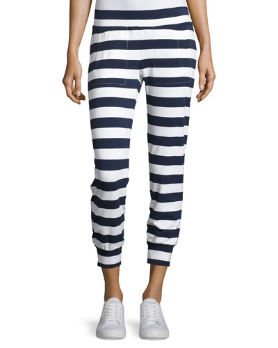Jog Pants, Navy/White Stripe