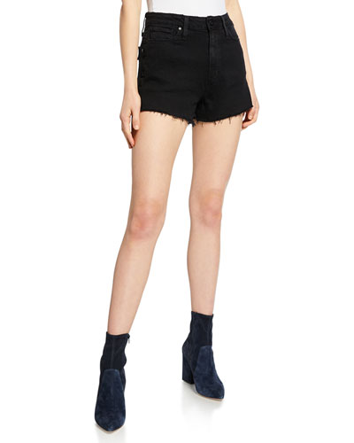 Margot High-Waist Denim Cutoff Shorts, Vintage Black