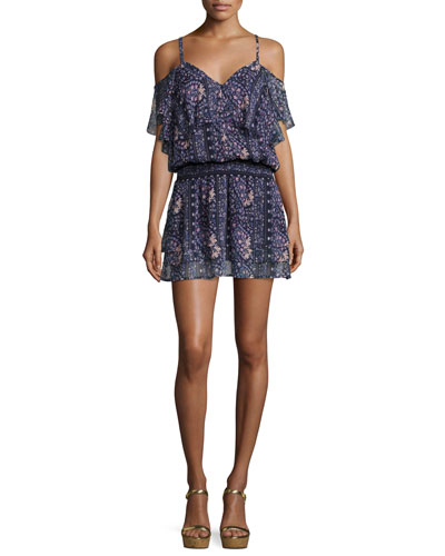 Olympia Cold-Shoulder Floral-Print Mini Dress, Dark Ink Blue