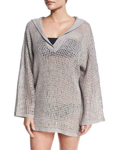 Sandbar Crocheted Hooded Coverup, Gray