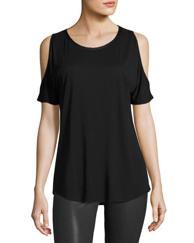 Alessa Cold-Shoulder Tee, Black