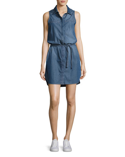 Eugenie Sleeveless Belted Chambray Shirtdress, Crispin