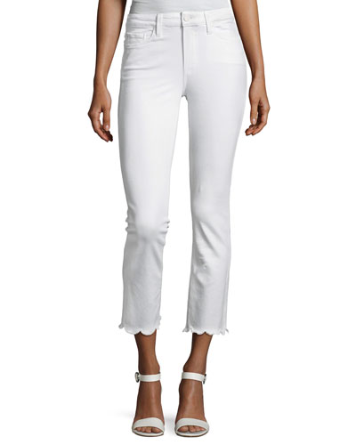Jacqueline Cropped Straight-Leg Jeans W/ Scallop Hem, White