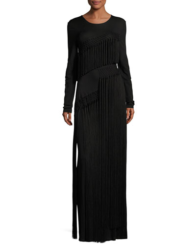 Long-Sleeve Fringe Jersey Maxi Dress, Black