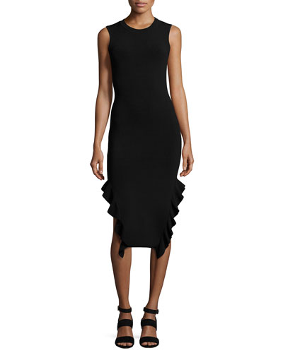 Sleeveless Stretch Crepe Ruffle-Trim Midi Dress, Black