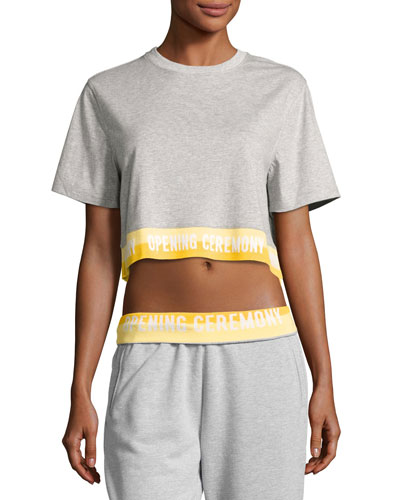 Heathered Jersey Elastic-Logo Tee, Gray
