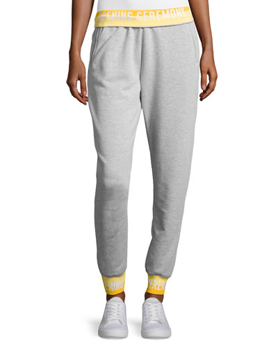 Heathered Jersey Elastic-Logo Sweatpants, Gray