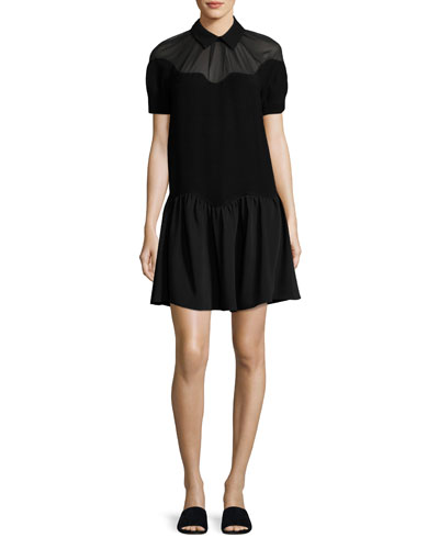 Short-Sleeve Scalloped Stone Crepe Dress, Black