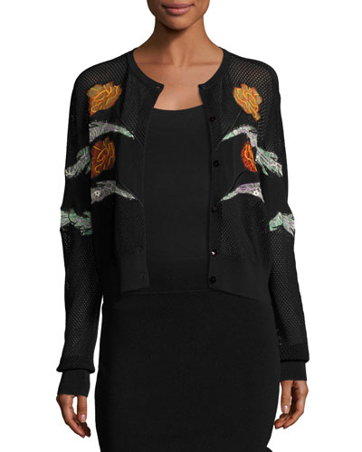 Gestures Embroidered Mesh Cardigan, Black