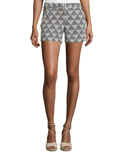 Dael Triangle-Print Shorts, Blue/White