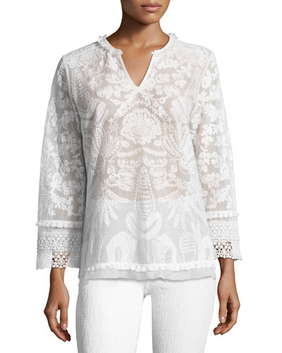 Irina Crocheted Lace Blouse, White
