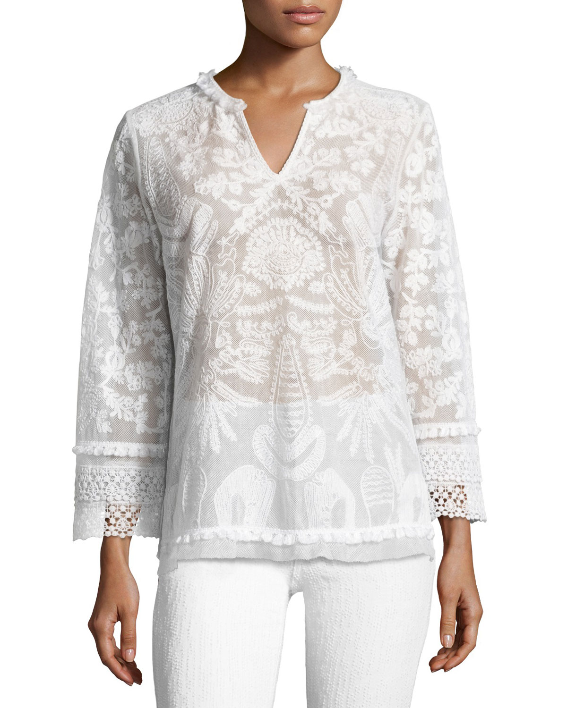 Irina Crocheted Lace Blouse, White