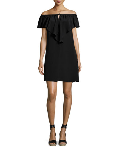 Lani Ruffled Off-the-Shoulder Silk Shift Dress, Black