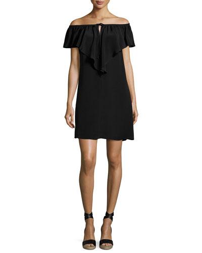 Lani Ruffled Off-the-Shoulder Silk Shift Dress, Black