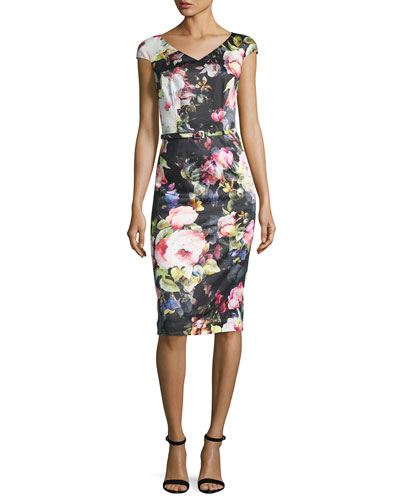 Cap-Sleeve Belted Floral Sheath Dress, Black/Pink