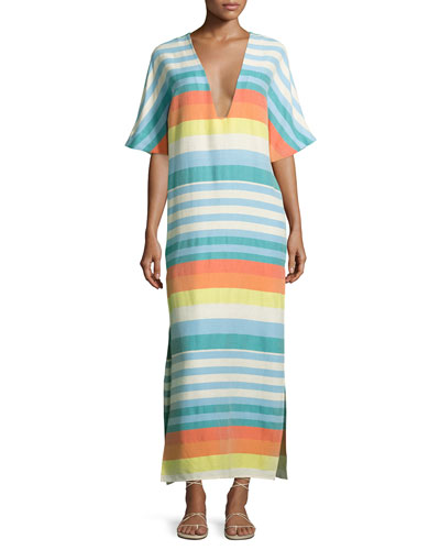 Striped Organic Cotton Kimono Coverup Dress, Equator