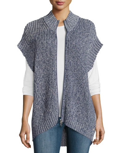 Katherine Cap-Sleeve Zip Sweater, Denim