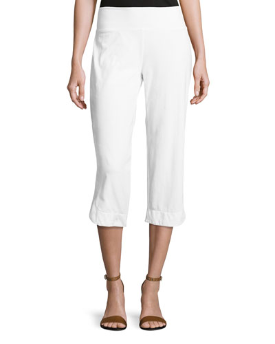 Eden Pull-On Capri Pants, White