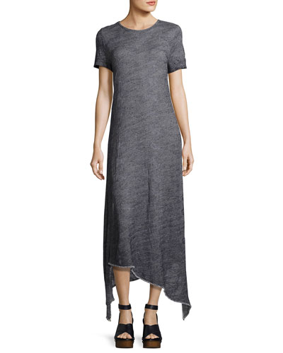 Riley Short-Sleeve Long Knit Dress w/ Asymmetric Hem, Indigo