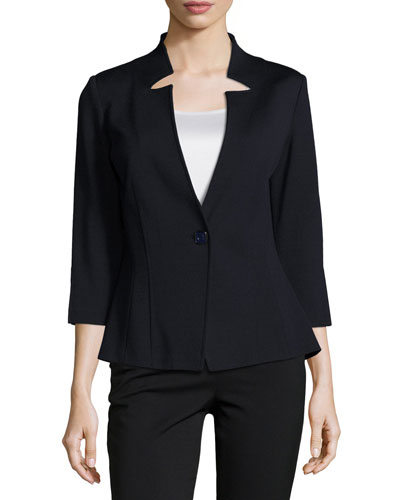 Milano Knit 3/4-Sleeve Jacket, Navy