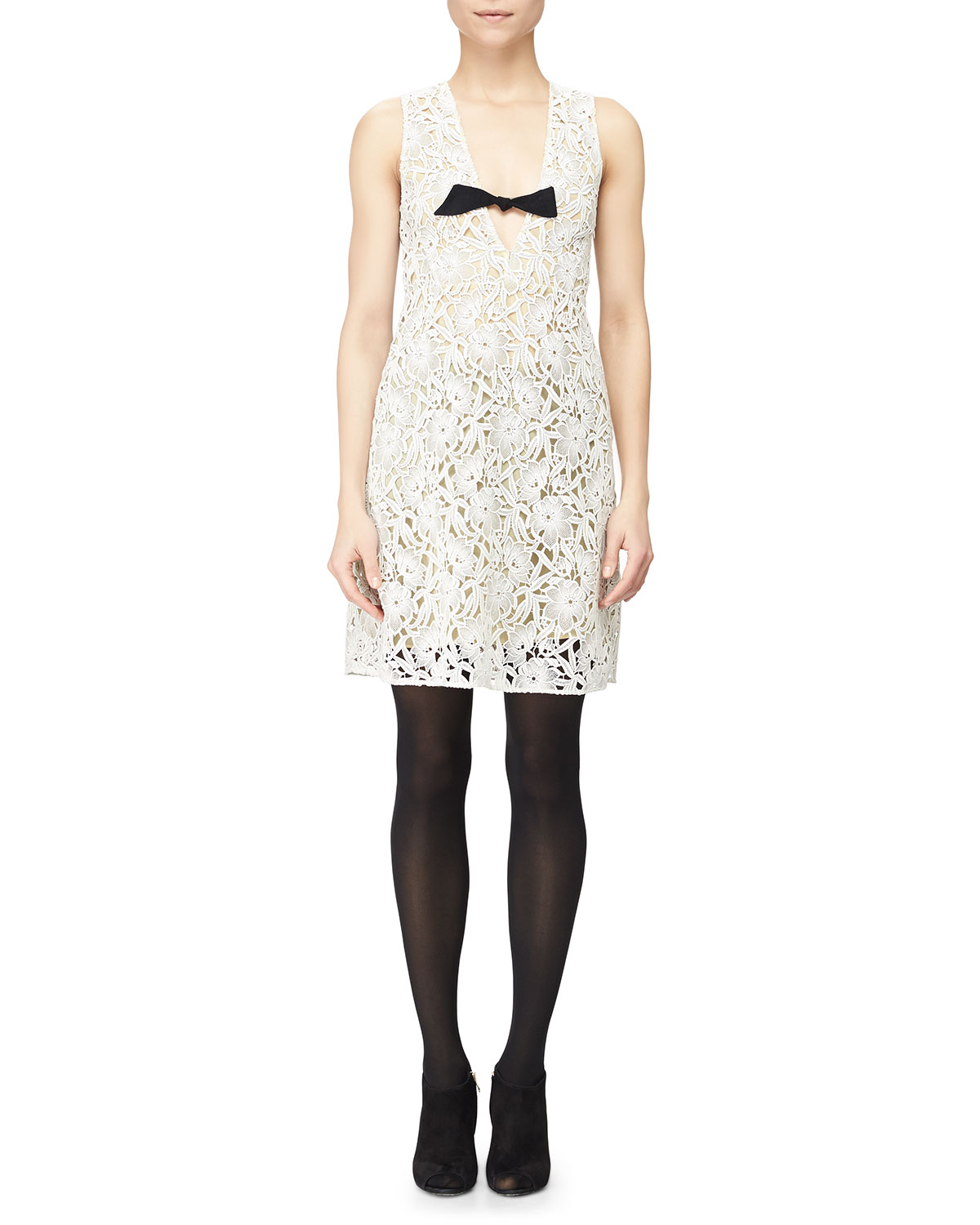 Floral Macrame Lace Dress w/ Bow, White