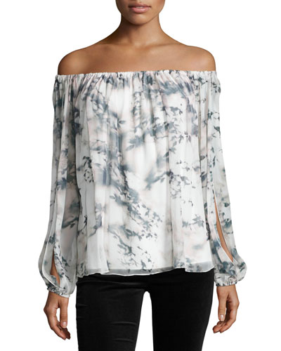 Flowers in the Sun Off-the-Shoulder Printed Silk Blouse, Pink Fairy