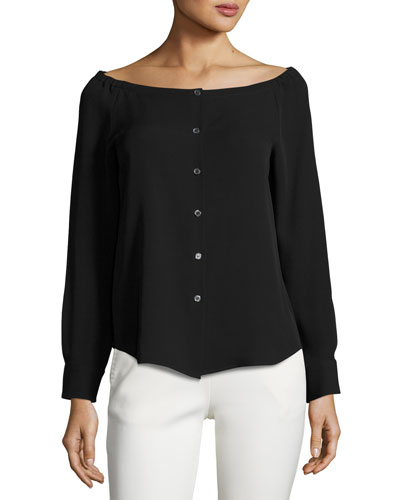 Auriana Off-the-Shoulder Georgette Shirt, Black