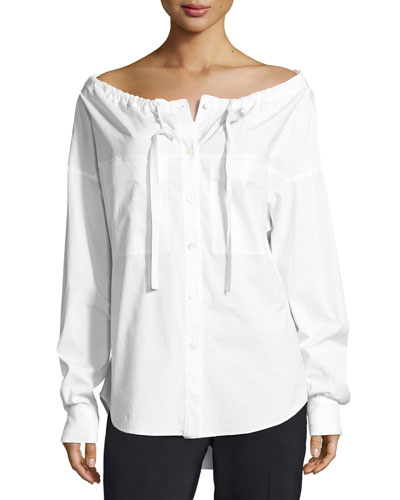 Magena Off-the-Shoulder Poplin Shirt, White