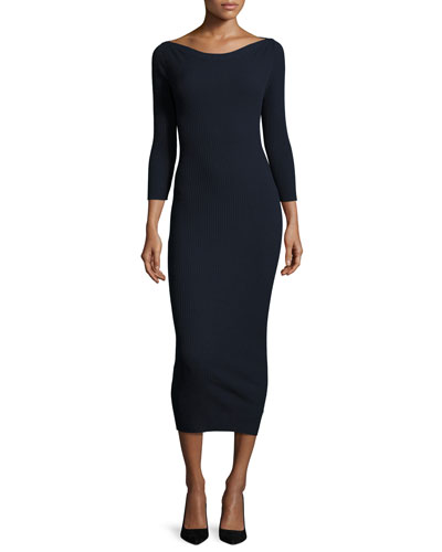 Delissa C Prosecco Ribbed Midi Dress, Blue