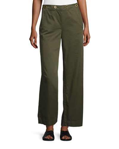 Namid TS Washed Chino Wide-Leg Pants, Green