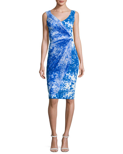 Naomi Printed Faux-Wrap Sheath Dress, Blue