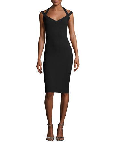 Quirine Sleeveless Jersey Cocktail Dress, Black