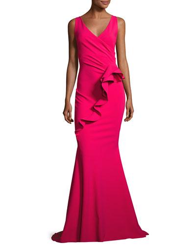 Keke Sleeveless Ruffle Mermaid Gown