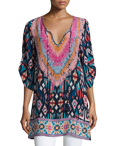 Felisity Split-Neck Printed Tunic