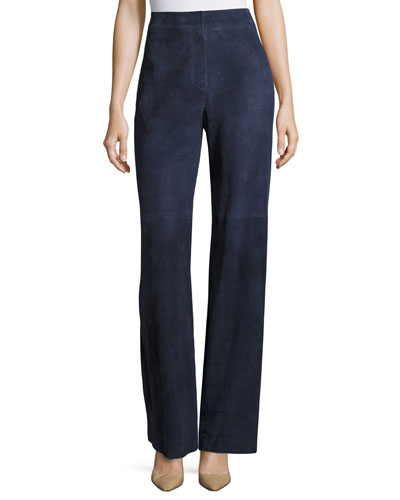 Terena S Wilmore Suede High-Rise Wide-Leg Pants, Blue