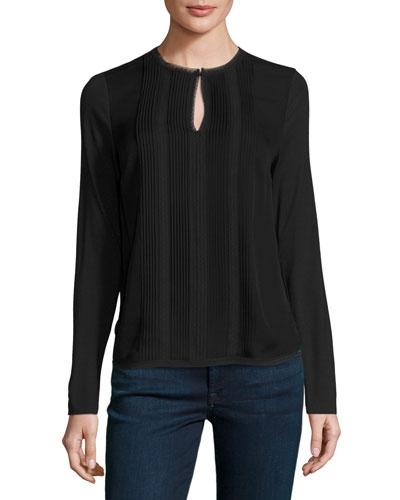 Sima Long-Sleeve Pintucked Silk Combo Blouse