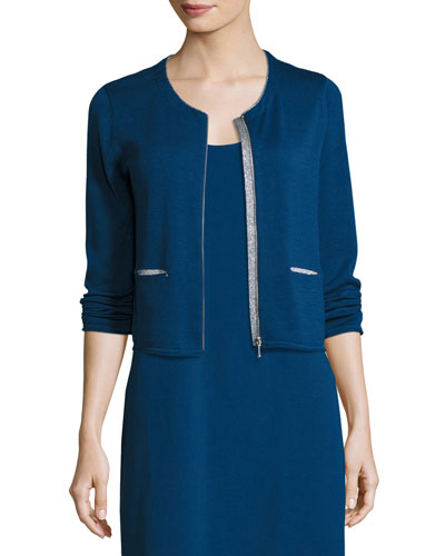 Zip-Front Cardigan w/ Metallic Trim