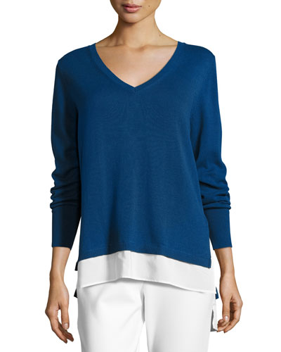 Long-Sleeve Sweater W/ Woven Hem, Plus Size